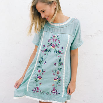 A Touch of Floral Dress - Light Blue