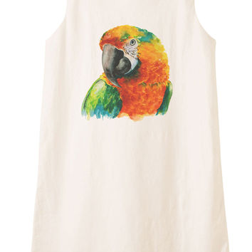 Hand Drawn Parrot Head Printed Vintage 100% Cotton Linen Mini Shift Dress WDS_01