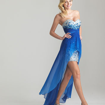 Royal Blue Sequin & Chiffon Strapless High-Low Prom Dress - Unique Vintage - Prom dresses, retro dresses, retro swimsuits.