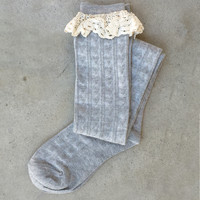 Lace Top Knee High Boot Socks