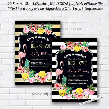 Flamingo Invitation, Flamingo Baby Shower, summer, girl baby shower, baby girl invites, vintage shabby chic Flamingo - card 871
