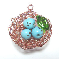 Birds Nest Pendant  Lampwork Eggs and Copper by FireinIceLampwork