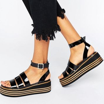 ASOS TREASURED Leather Chunky Strappy Sandals at asos.com