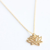Filigree Lotus. Minimal simple everyday layered tiered chain vermeil gold filled leaf flower leaves nature garden minimalist gift sister