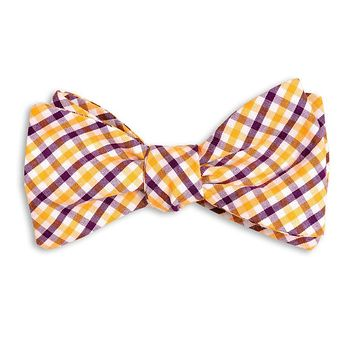 Purple and Gold Tattersall Bow Tie by High Cotton