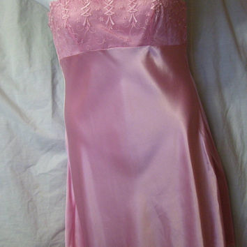 Pink Satin, Chemise, Sexy Night Gown, Size M Medium, By Cabernet, Bridal Honeymoon, Resort Cruise Wear