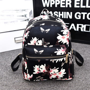 Back To School On Sale Casual Hot Deal Stylish College Comfort Fashion Floral Butterfly Print Backpack [6581837383]