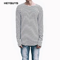 HEYGUYS striped t-shirts men long sleeve Arc type Hem high street wear man winter soldier length t shirts new fashion