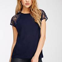 Lace-Sleeved Raglan Top