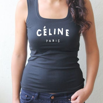 celine paris shirt,celine paris tank, tank top,women's tshirts,tops tees,womens tshirts,womens tank,women's tshirts, ScreenPrint,Size:S / M