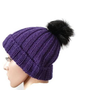 Womens Knit Winter Hat, Ribbed Beanie with Faux Fur Pompom, Knit ribbed Beanie, Purple Hat