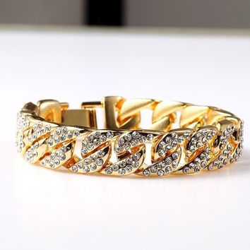 Gold Fully Iced Out Rhinestone Bracelet
