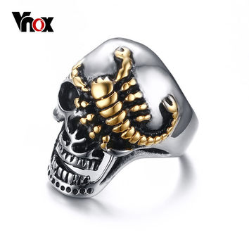 Vnox Men's Skull Bone Gothic Rings Gold-color Scorpions Vintage Biker Rings for Men Jewelry