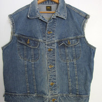 Vtg 70s Lee Biker Vest Denim Jean Jacket Sanforized Worn Distressed USA Large