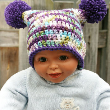 Purple baby hat jester beanie newborn photo prop pom pom hat 0 -3 months size Ready to ship