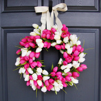 WREATH SALE EVENT Colorful Tulip Wreath as a Spring Door Wreath, Valentines Day Wreath, Housewarming or Wedding Gift