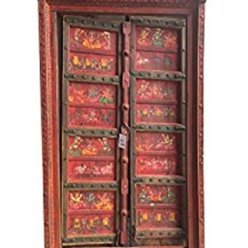 Antique Doors Red colorful hand painted Ganesha Dream House Iron ARTISAN Door with frame