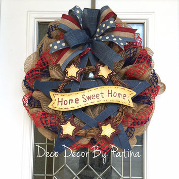 4th of July Wreath - 4th of July Decoration- Patriotic Wreath - Patriotic Decor - Fourth of July Wreath - Patriotic Decoration