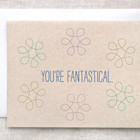 Valentine Card, Funny Anniversary Card - Brown, Eco Friendly - Thank You Card - You're Fantastical - Geometric