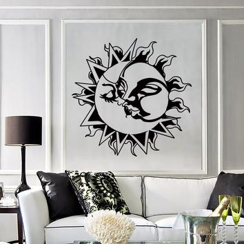 Vinyl Decal Wall Stickers Sun Kissing Moon Love Romantic Decor for Living Room Unique Gift (z2210)
