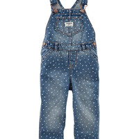 Heart Print Denim Overalls - Atlantis Blue Wash
