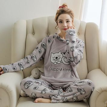 Flannel Cartoon Cat Pajamas