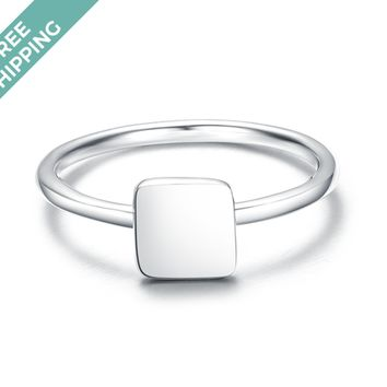 kiz&Co Sterling Silver Square Stack Ring