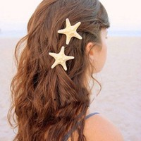 Natural Sand Color Starfish Hair Clip Hair Pin. Nautical. Beach Party