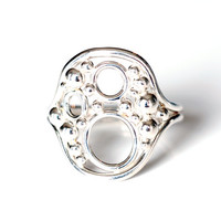 Size 5 & 3/4 bubble ring in argentium sterling silver , unique one of a kind art jewellery ring , silver granulation seed ring