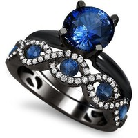 2.15ct Blue Sapphire Diamond Engagement Ring Bridal Set 18k Black Gold Rhodium Plating Over White Gold