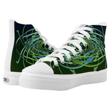 Green n Blue Swirls Printed Shoes