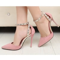 Women Summer OL Solid Suede Pointed Toe Stiletto Heel