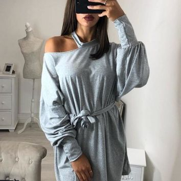 New Grey Cut Out Sashes Long Sleeve Fashion Pullover Sweatshirt