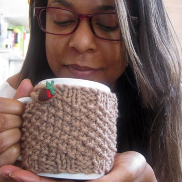 Knit Mug Cozy with Chocolate Covered Strawberry Button – Brown Coffee Mug Holder – Hot Chocolate Gift Idea – Stocking Stuffer - Coffee Cozy