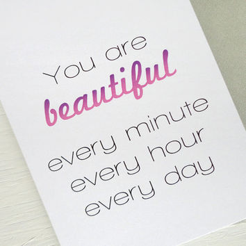 Inspirational card You are beautiful ombre pink purple for her friend mother minimalist