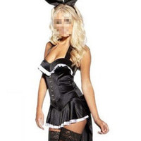 Sexy Halloween Magician's Costume Tuxedo Playboy Bunny Tail Showgirl Dress