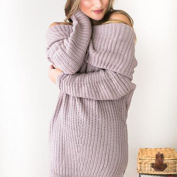 Sing To Me Softly Heather Off Shoulder Sweater Dress