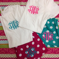 Monogrammed pajama short, monogrammed sleep shorts, with matching top