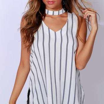 Stripe Line Shore Stripped Top Ivory