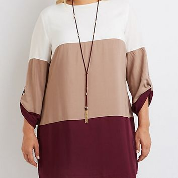 Plus Size Color Block Shift Dress