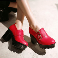 New Fashion Woman Square High Heel Platform Ankle Pumps Lady's y Casual Retro Round Toe Slip On Pumps Alternative Measures