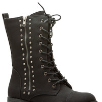 Black Faux Nubuck Spiked Lace Up Combat Boots