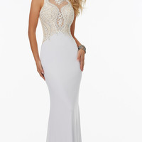 Long Mori Lee Prom Dress with Beaded Top