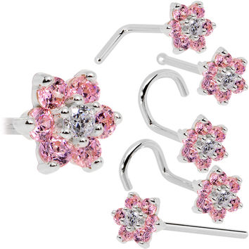 Solid 14KT White Gold Pink and Clear Cubic Zirconia Flower Nose Ring
