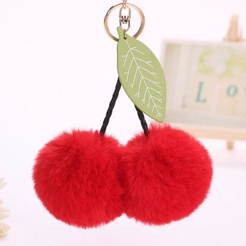 2017 New Fur Pom Pom Keychain Rabbit fur ball key chain porte clef pompom de fourrure pompon Bag Charms Cherry Car Keyring
