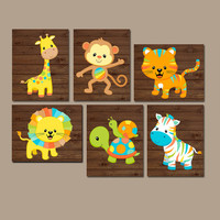 Safari Animals Nursery Wall Art, Jungle Animals, Baby Boy Pictures, Colorful Zoo Animals, Animal Nursery Decor Canvas or Prints Set of 6