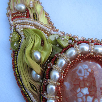 Shibori Silk Necklace Beaded Bib Dragon Vein Agate Coral and Lime Embroidered Summer Accessory