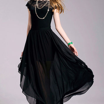 Free Shipping Bohemian Style High Quality Lace Short Sleeve Round Collar Irregular Chiffon Long Dress Black