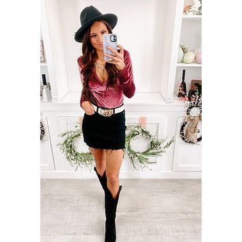 Lost In London Velvet Bodysuit (Dark Mauve)