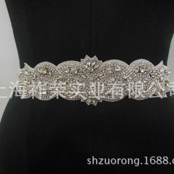 Good bridal sash handmade diamond waist bride wedding girdle hand sewn crystal belt mesh beaded belt wedding belts = 1929365316